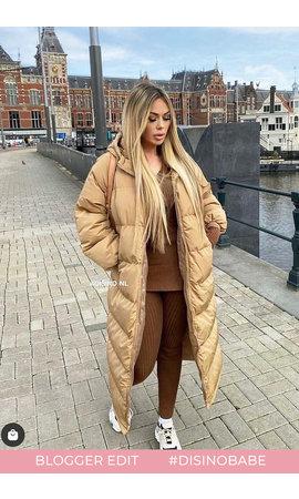 CAMEL - 'DANI' - OVERSIZED LONGLINE PUFFER COAT WITH CAPUCHON