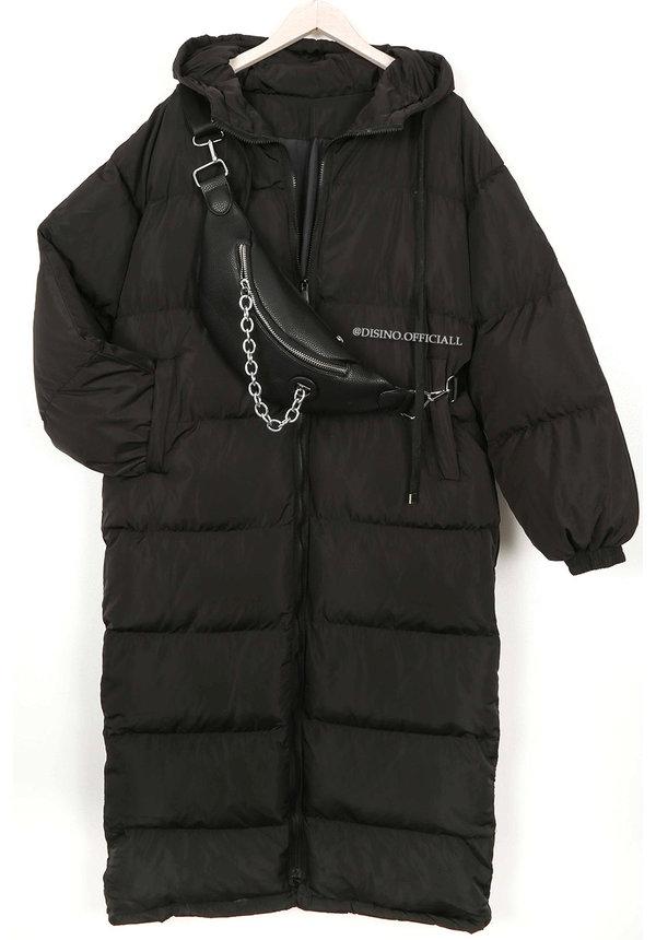 BLACK - 'DANI' - OVERSIZED LONGLINE PUFFER COAT WITH CAPUCHON