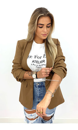 CAMEL - 'LINA SHORT' - PERFECT RUCHED SLEEVE BLAZER