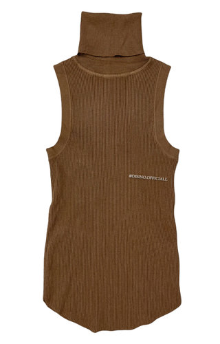 CAMEL - 'LEXI' - SOFT TOUCH RIBBED SLEEVELESS COL TOP