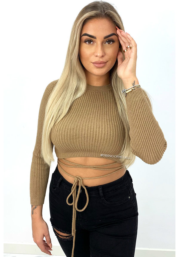 CAMEL - 'ABIGAIL' - LONG SLEEVE KNITTED TIE TOP
