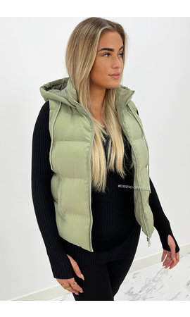 OLIVE GREEN - 'BETTY' - PUFFER BODYWARMER WITH CAPUCHON