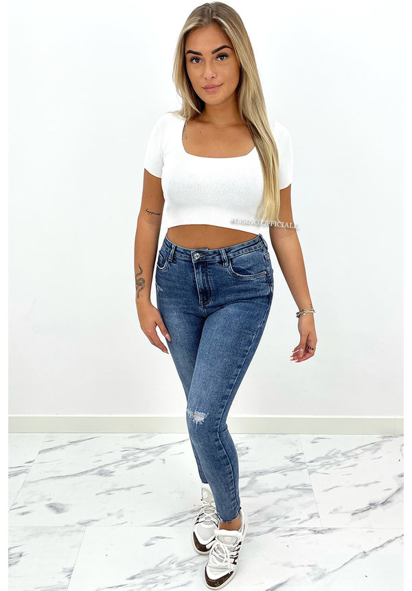WHITE - 'CINDY' - RIBBED CROPPED SQUARE TOP