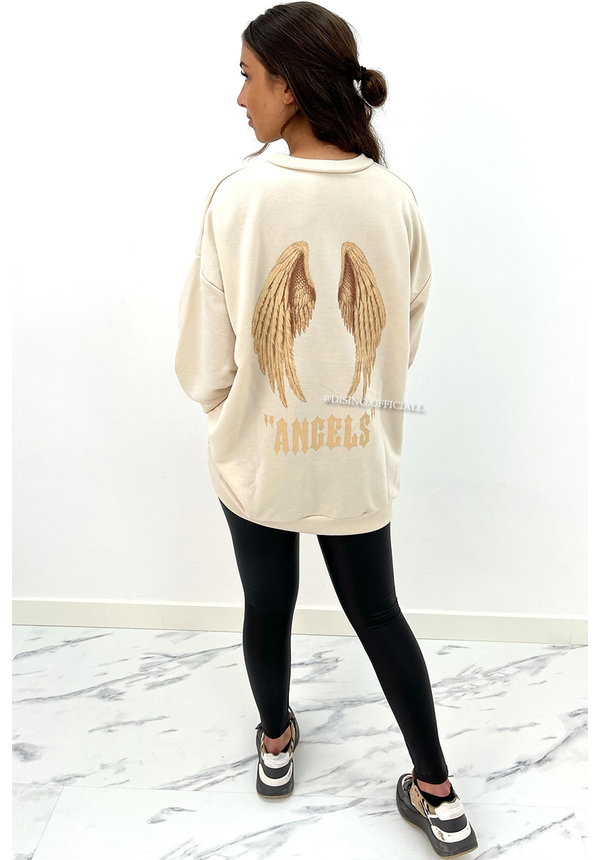 BEIGE - 'ANGEL ON MY BACK SWEATER' - OVERSIZED COMFY SWEATER