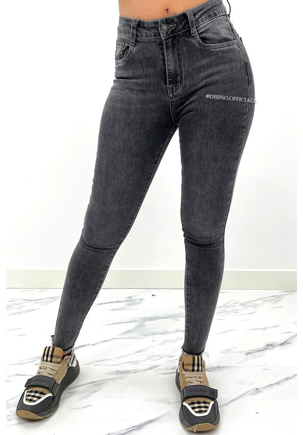 REDIAL - GREY - PERFECT HIGH WAIST SKINNY JEANS - 8301