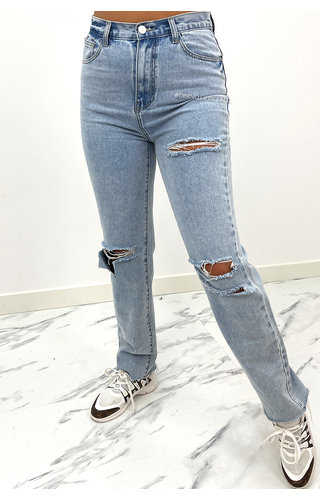 REDIAL - LIGHT BLUE - HIGH WAIST RIPPED MOM JEANS - 1521
