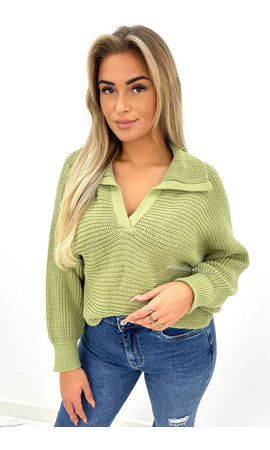 GREEN - 'HAYLEY' - OVERSIZED KNIT POLO SWEATER