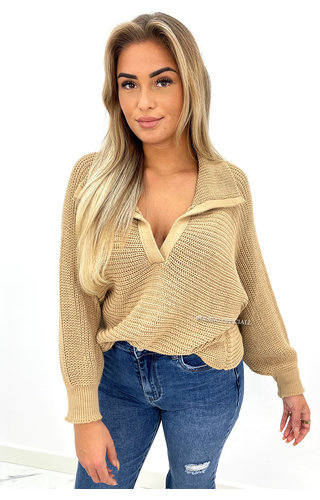 CAMEL - 'HAYLEY' - OVERSIZED KNIT POLO SWEATER