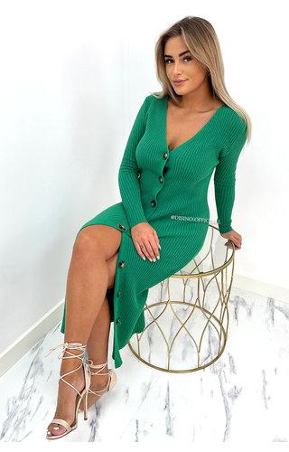 GREEN - 'CHELSEA' - SUPER SOFT MAXI BUTTON DRESS