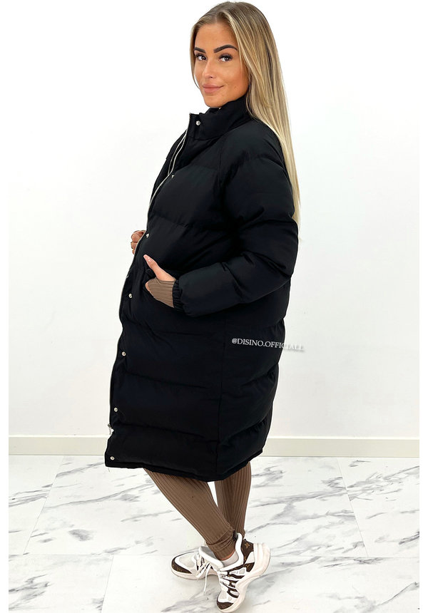 BLACK - 'DELANEY' - OVERSIZED LONGLINE PUFFER COAT