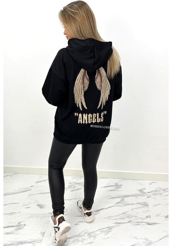 BLACK - 'ANGEL ON MY BACK HOODIE' - OVERSIZED COMFY HOODIE