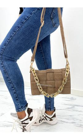 BROWN - 'CASSETTE VELVET BAG' - INSPIRED BAG WITH CHAIN