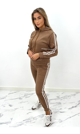 BROWN - 'ABBY' - STRIPED JOGGER SET