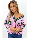 PINK - 'DANA' - INSPIRED PRINT COLLEGE KNITTED VEST