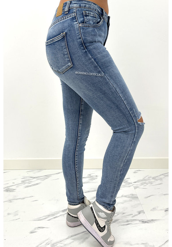 QUEEN HEARTS JEANS - BLUE - HIGH WAIST PERFECT SKINNY JEANS  - 9170