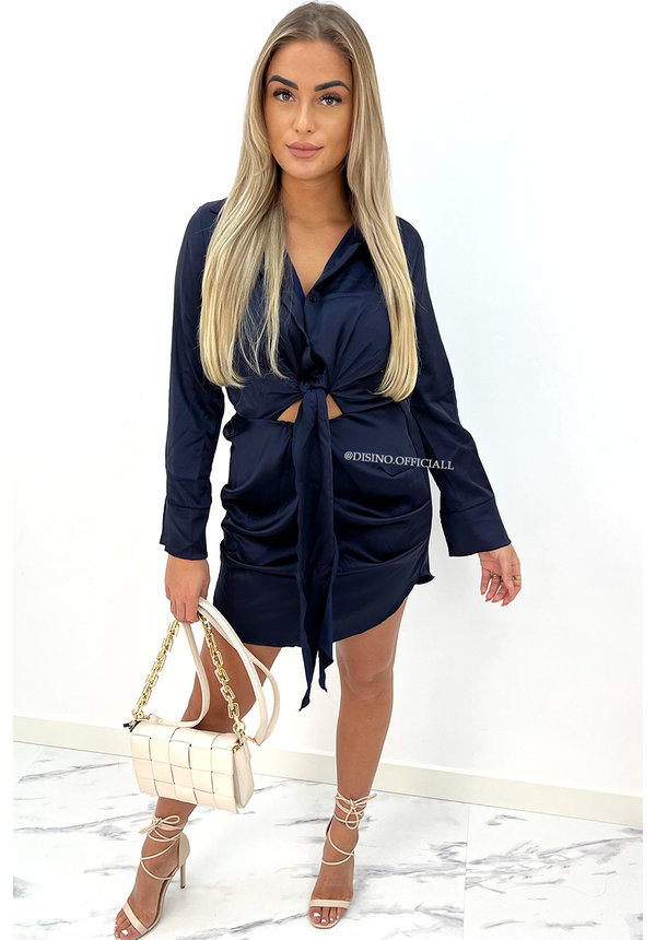 MIDNIGHT BLUE - 'CLAIRE' - SILKY KNOT BLOUSE DRESS