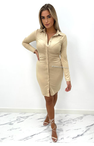 NUDE - 'CHRISS' - PERFECT FIT BUTTON UP DRESS