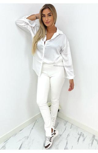 WHITE - 'LEATHER NOELLE' - HIGH WAIST VEGAN LEATHER SIDE SPLIT PANTS