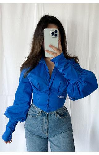 BLUE - 'LUCIE BLOUSE' - CORSET PUFF SHOULDER BLOUSE