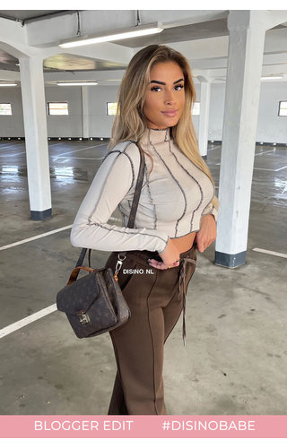 BEIGE - 'AMBER TOP' - INSIDE OUT LONG SLEEVE TOP