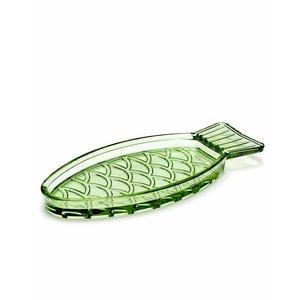 Paola Navone Visschotel groen glas smal, set a 2