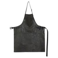 DutchDeluxes Schort leder vintage grijs-zwart bbq style
