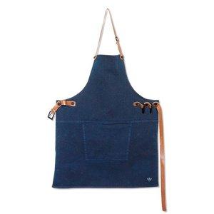 DutchDeluxes Schort canvas donker blauw bbq style