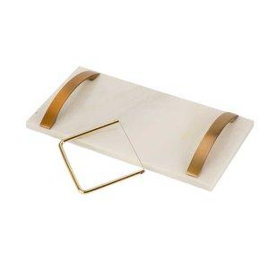 Cosy & Trendy Dienblad marmer met koperen handvaten en snijder
