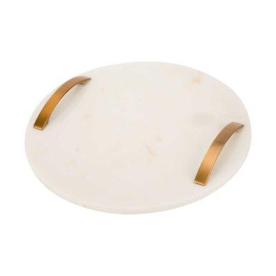 Cosy & Trendy Dienblad marmer wit rond met handvaten 30 cm
