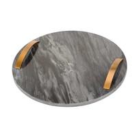 Cosy & Trendy Dienblad marmer zwart rond met handvaten 30 cm