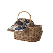 Cosy & Trendy Picknickmand riet, 2 persoons, blauw-wit