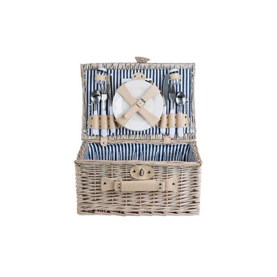 Cosy & Trendy Picknickmand -  4 persoons, bleu-white stripe