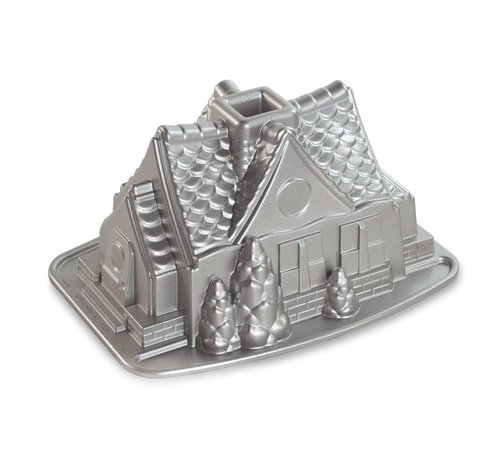 Nordic Ware Gingerbread House Bundt Pan Silver 9-cup