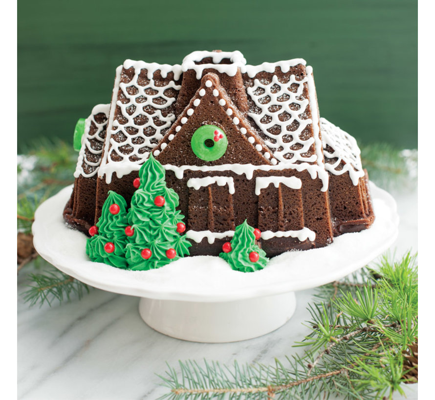 Gingerbread House Bundt Pan Silver 9-cup