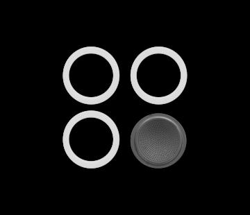 Bialetti Blister 3 Gasket Filterplaatje RVS 10-kops