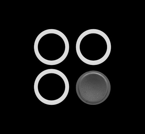 Bialetti Blister 3 Gasket Filterplaatje RVS 6-kops