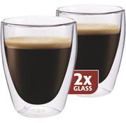 Maxxo Dubbelwandig Glas Koffie 235 ml - set 2 stuks