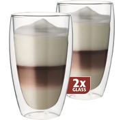 Maxxo Dubbelwandig Glas Latte 380 ml - set 2 stuks