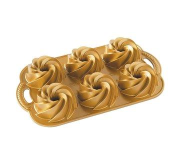 Nordic Ware Heritage Bundtlette Pan Gold 4-cup