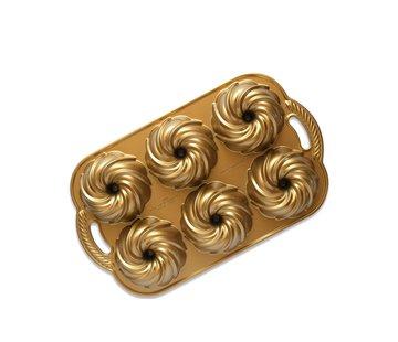 Nordic Ware Swirl Bundtlette Pan Gold 5-cup