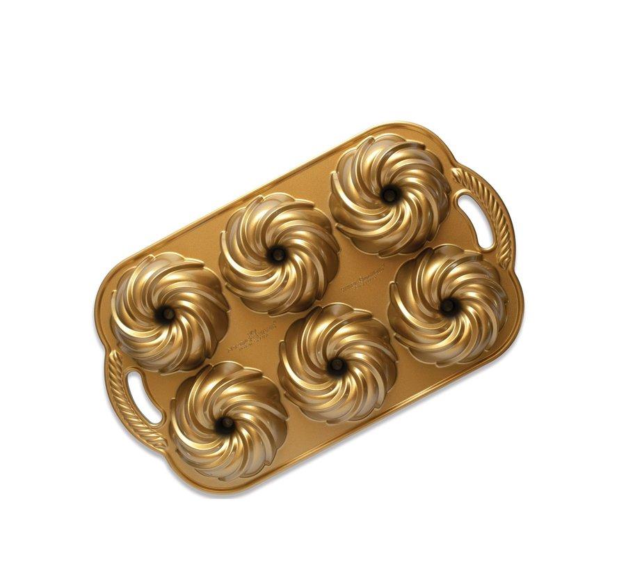 Swirl Bundtlette Pan Gold 5-cup