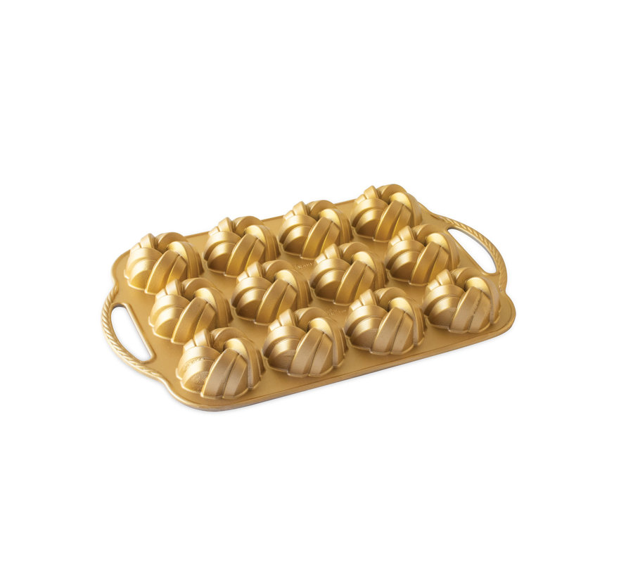 Braided Mini Bundt Pan Gold 3.5-cup