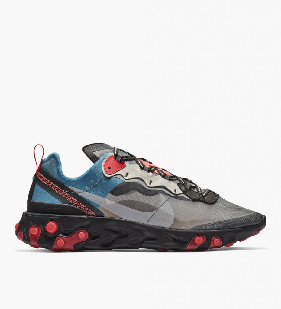 d349acf9a777 Nike React Element 87 Black Cool Grey Blue Chill Solar Red - Baskèts Stores  Amsterdam
