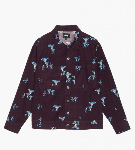 Stussy Stussy Mushroom Cord LS Shirt Burgundy