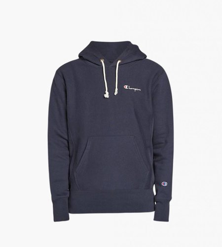 Champion Champion Small Script Logo Reverse Weave Hoodie Navy