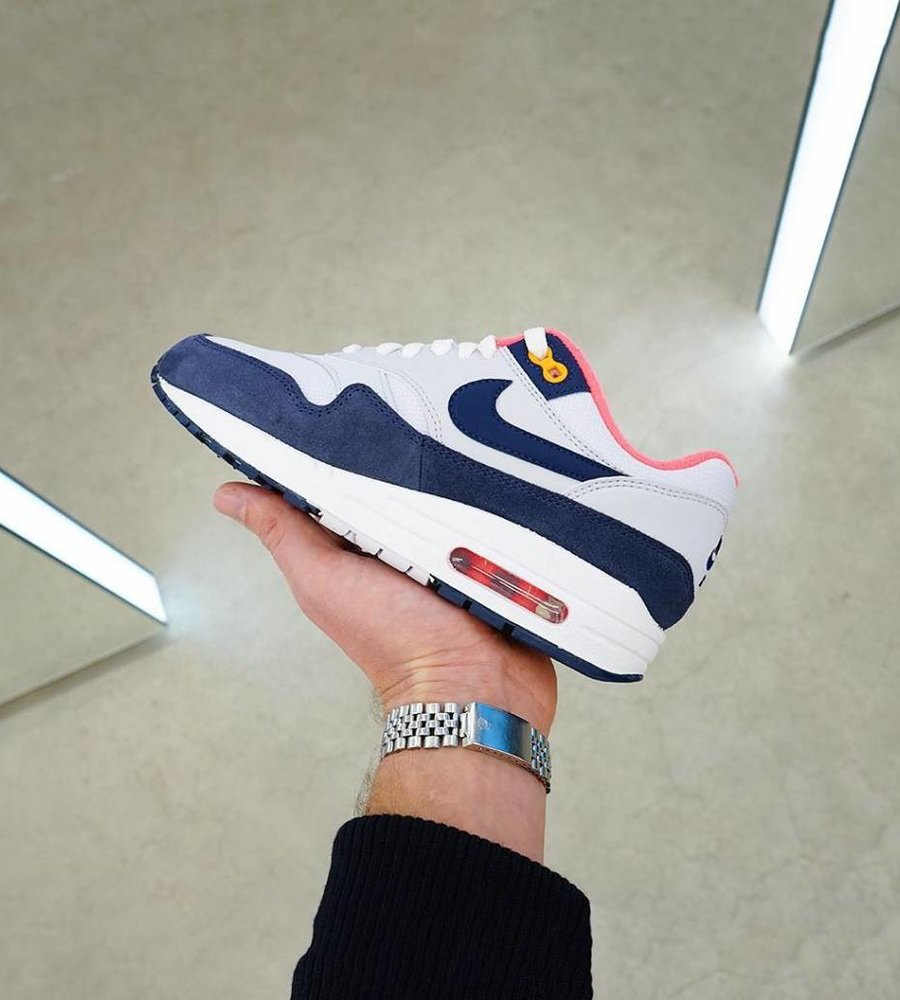 best sell sleek exclusive shoes Nike Nike Wmns Air Max 1 White Midnight Navy Pure Platinum