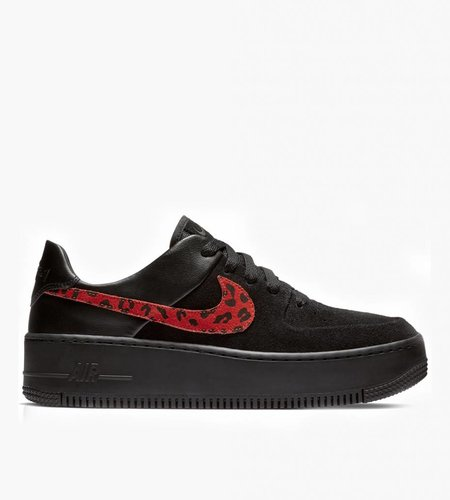 Nike Nike Air Force 1 Sage Low Premium LX Black Leopard Habanero Red Racer Blue