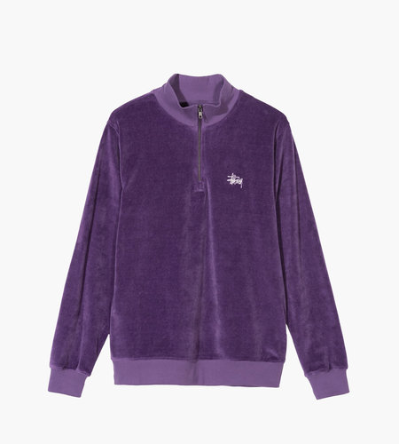 Stussy Stussy Velour LS Zip Mock Purple