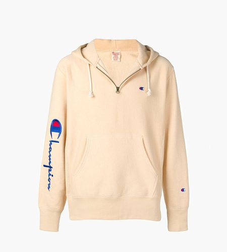Champion Champion Hooded Half Zip Sweater Beige