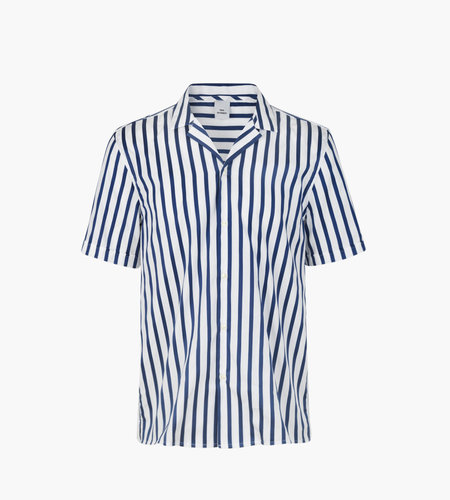 Won Hundred Won Hundred Kirby Shirt Blue Satin Stripe